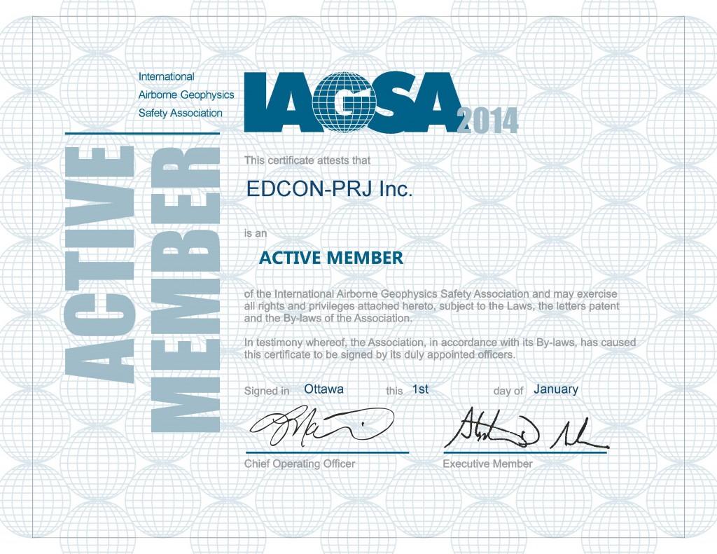 EDCON-PRJ Inc. 2014 IAGSA Certificate